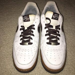 Nike Air Force One size 10 White/Brown gum bottom!